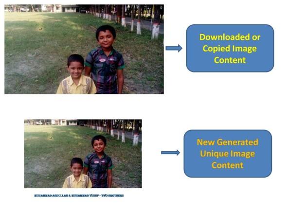 create unique image content from copied image