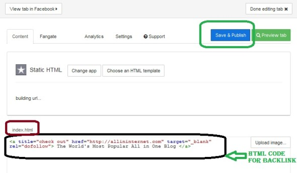 Put HTML Code to get dofollow backlink from facebook