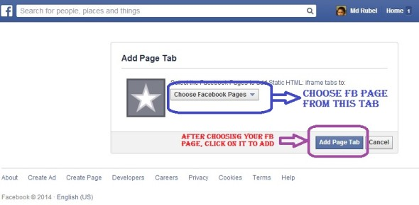 choose facebook page to get dofollow backlink from facebook