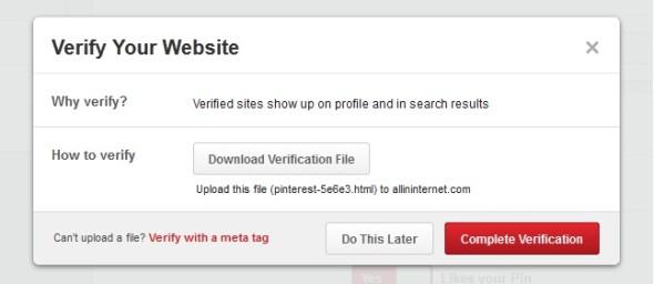 download pinterest verification