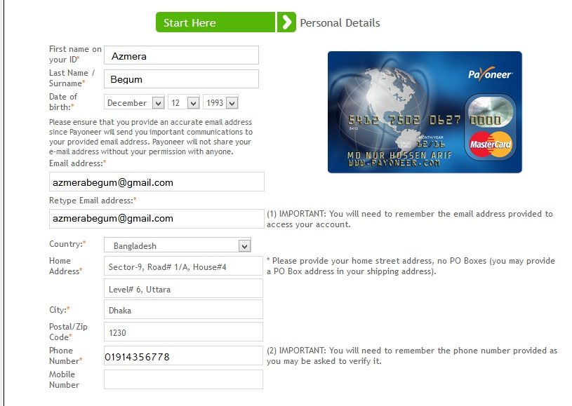 form fillup payoneer card2