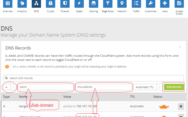 How to Set Up Sub Domain under a Main Domain into Cloudflare CDN?