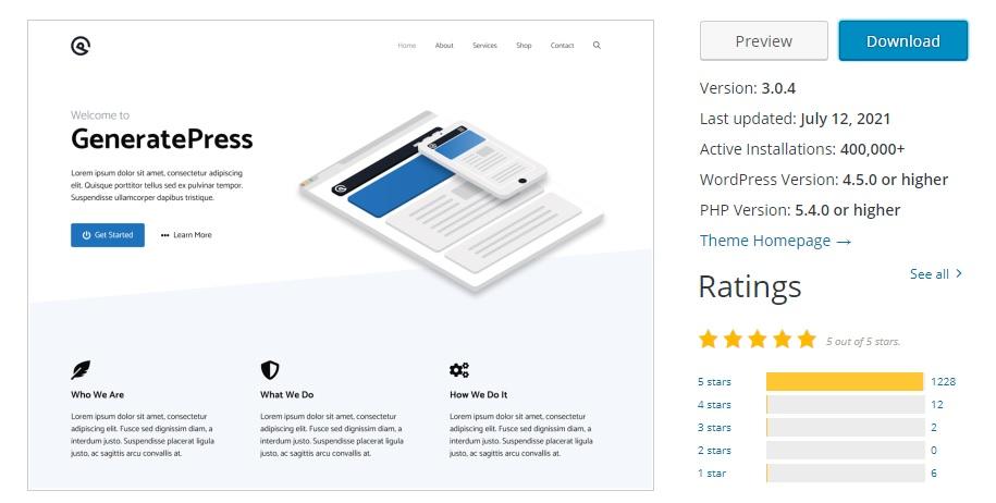 generatepress theme review summary